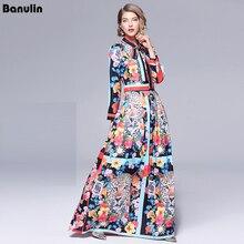 Vestidos Maxi de pasarela 2019 para mujer de alta calidad con cuello de lazo Vintage estampado de animales largo hasta el suelo vestido de fiesta Vestidos de mujer