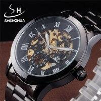 Shenhua Classic Relojes Automático de Los Hombres Reloj de Acero Inoxidable Negro de Plata Romana Dial Esqueleto Para Hombre Vestido de relojes de Pulsera Mecánicos