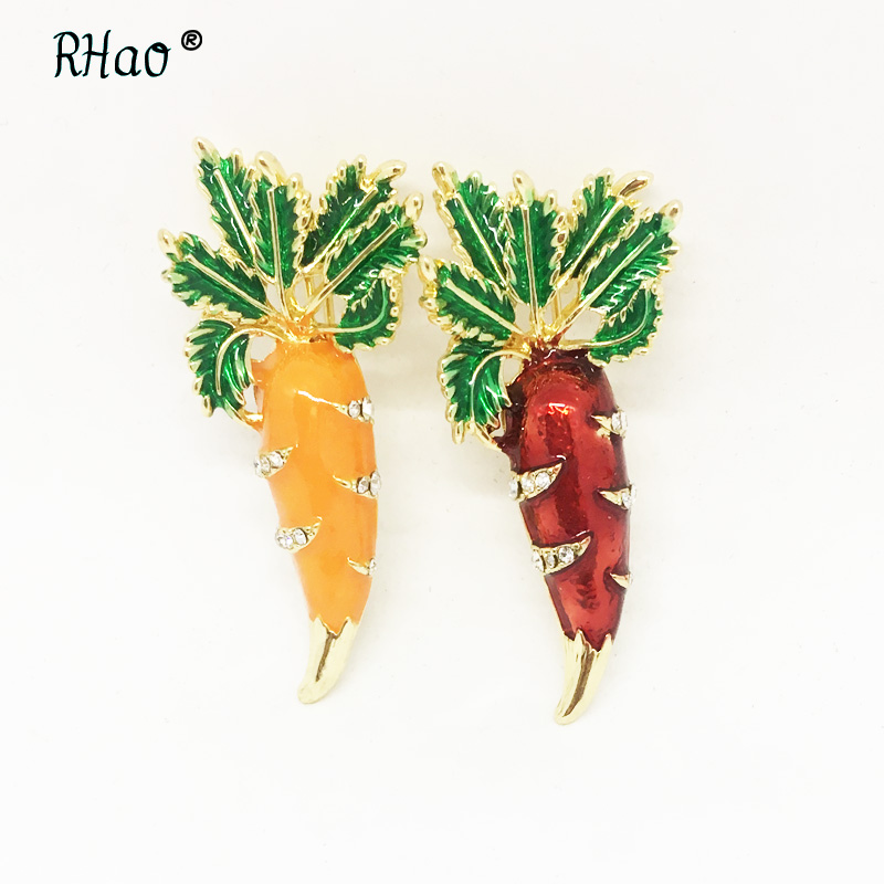 RHao Enamel orange Red Carrot Brooches Green Leaves Gold-color plant Pins Suit Scarf Clothes Corsage Jewelry Women Men Kids Gift