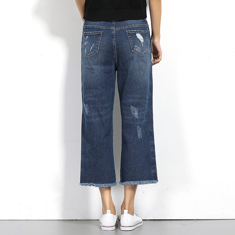 eb8253c52c9c0 2018 LEIJIJEANS Spring Plus Size Fashion Ripped Bleached Side Stripe  Panelled High Waist Caft Length Casual Wide Leg Women Jeans-in Jeans from  Women s ...