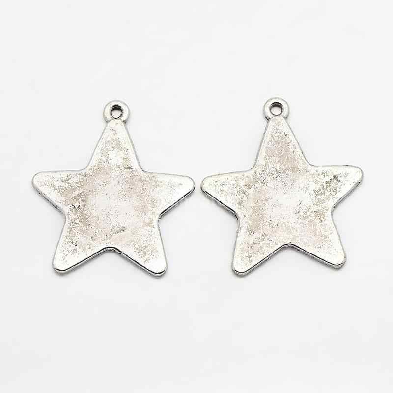 สไตล์ทิเบต Alloy Blank Stamping แท็กจี้, Star, ตะกั่วและแคดเมียมฟรี, เงินโบราณ, 28 มม., 26 มม., 1 มม.