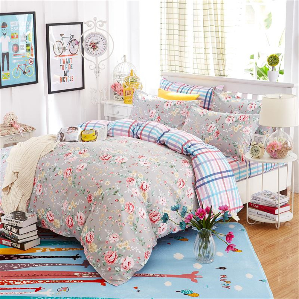online get cheap gray floral bedding aliexpresscom  alibaba group - gray printing floral duvetquilt cover pcs polyester kidsadult beddingsets girls bedroom