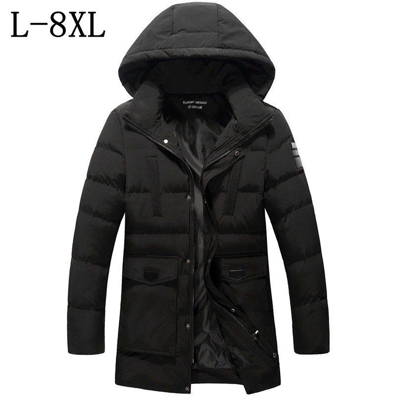 L 8XL 2018 새로운 겨울 자켓 남성 코튼 패딩 긴 두꺼운 따뜻한 캐주얼 후드 고품질 남성 자켓 코트 30도-에서파카부터 남성 의류 의  그룹 1