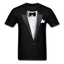 2016 style sizzling promote Tuxedo Costume Bow Tie Men's T-Shirt 100% cotton O-Neck T Shirt Casual brief tops tee