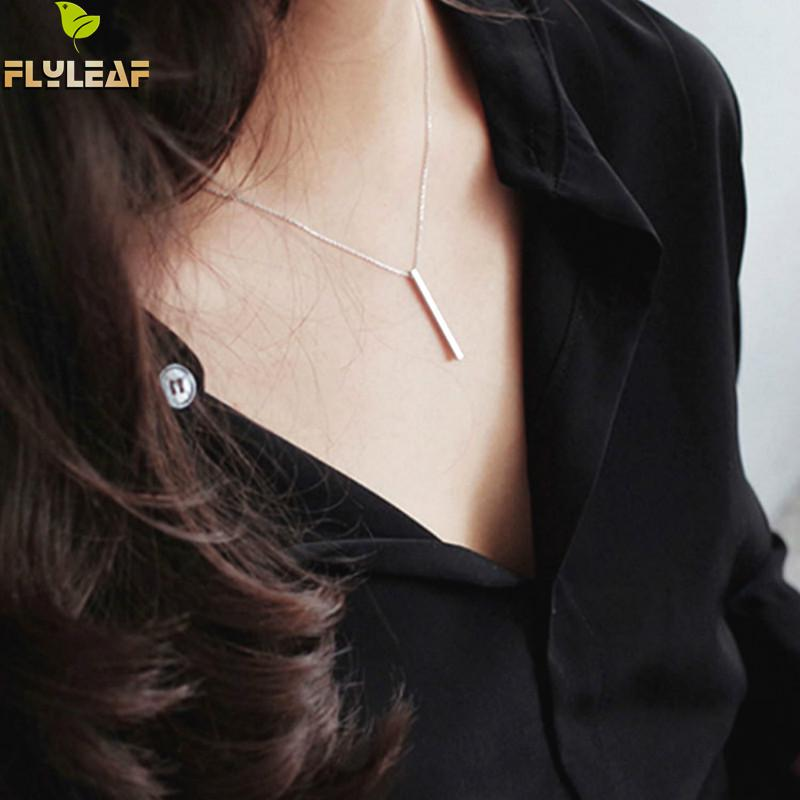 Flyleaf 925 Sterling Silver Geometry Strip Necklaces Pendants For Women Simple Style Student Girl Gift Jewelry in Necklaces from Jewelry Accessories