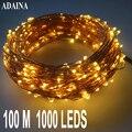 100 m 1000 luzes led fio de cobre corda luz ao ar livre à prova dwaterproof água lâmpada de fadas para o jardim casamento decorações de natal para casa