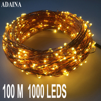 100M 1000 LED Lights Copper Wire String Light Outdoor Waterproof Fairy Lamp For Garden Wedding Christmas Decorations For Home