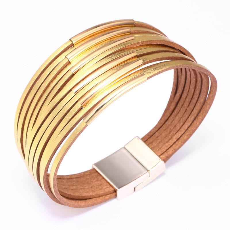 Geometric Leather Bracelet Women Office Lady Wrap Multilayer Bracelet Jewelry Bijoux Her NM18