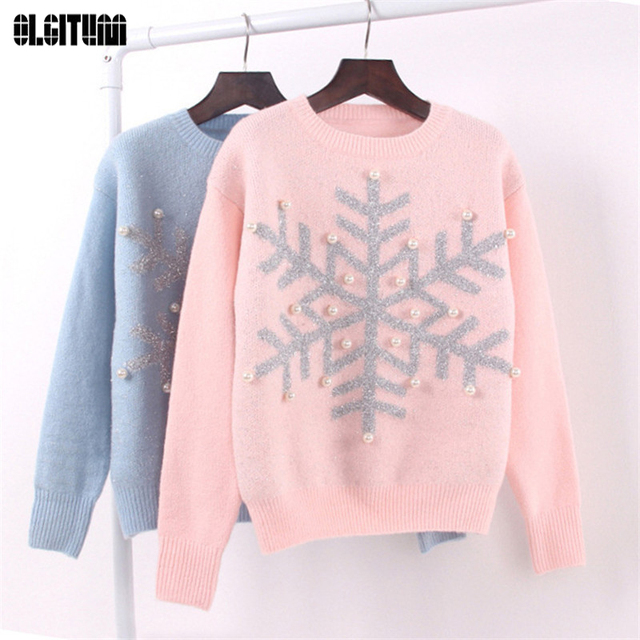 Sweaters Female Knitted Pullover Snowflake Sweaters Teenage Girl Sweater  Basic Sequins Long Sleeve SW286 e63689373
