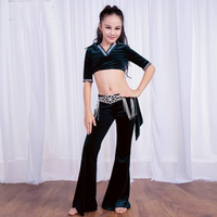 NEW 2018 Tops+Pants Belly Dance Training Set Dress for Kids/Child/Girls sexy V neck professional Stage Performance Wears Clothes