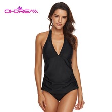 OHDREAM Plunging Halter Neck Tankini Sets Backless Women Swimsuit Separate Bathing Suit Two Piece Beachwear