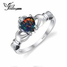 Jewelrypalace corazón 0.6ct irlandés claddagh creado ópalo negro promesa anillo de 925 joyería de plata esterlina nuevo anillo de piedra de nacimiento