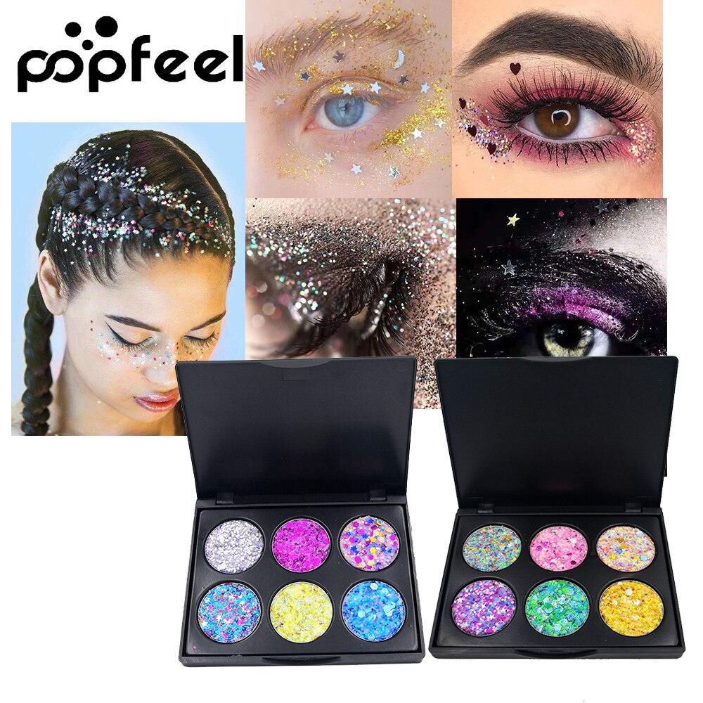 POPFEEL 6 Color Shimmer Glitter Eye Shadow Makeup Shimmer Metallic Glitter Powder Palette Sequin Eyeshadow Cosmetic Maquiagem