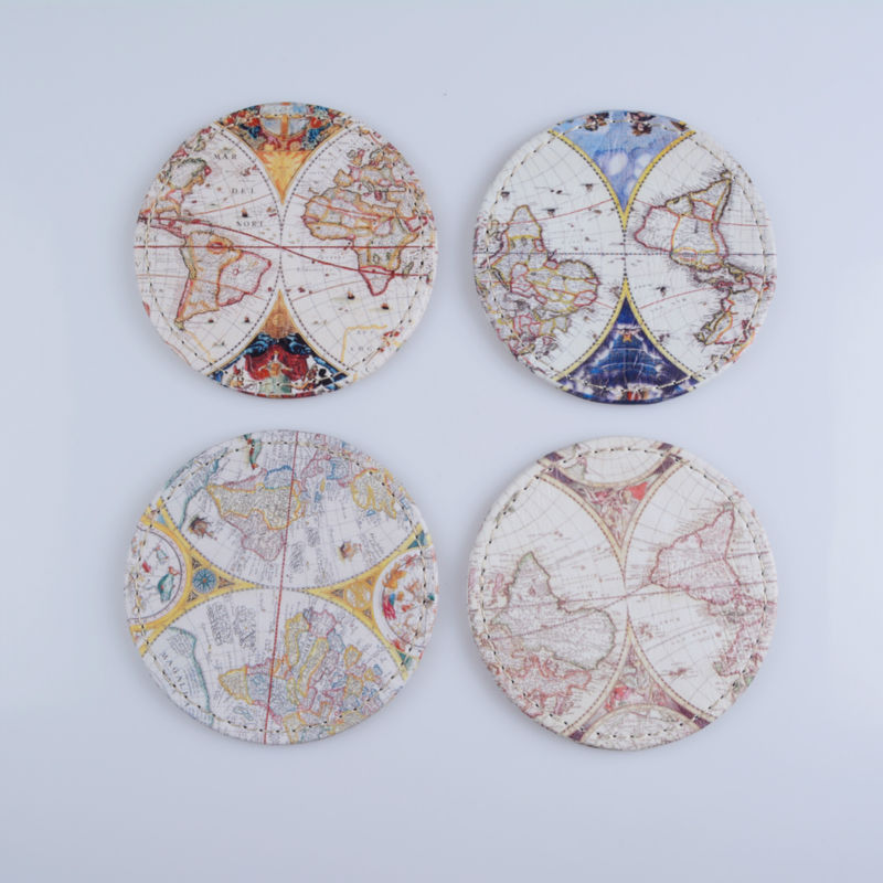 LINKWELL Set of 4 10x10cm Antique Accent Vintage Old World Map Round Bar Coaster Table C ...