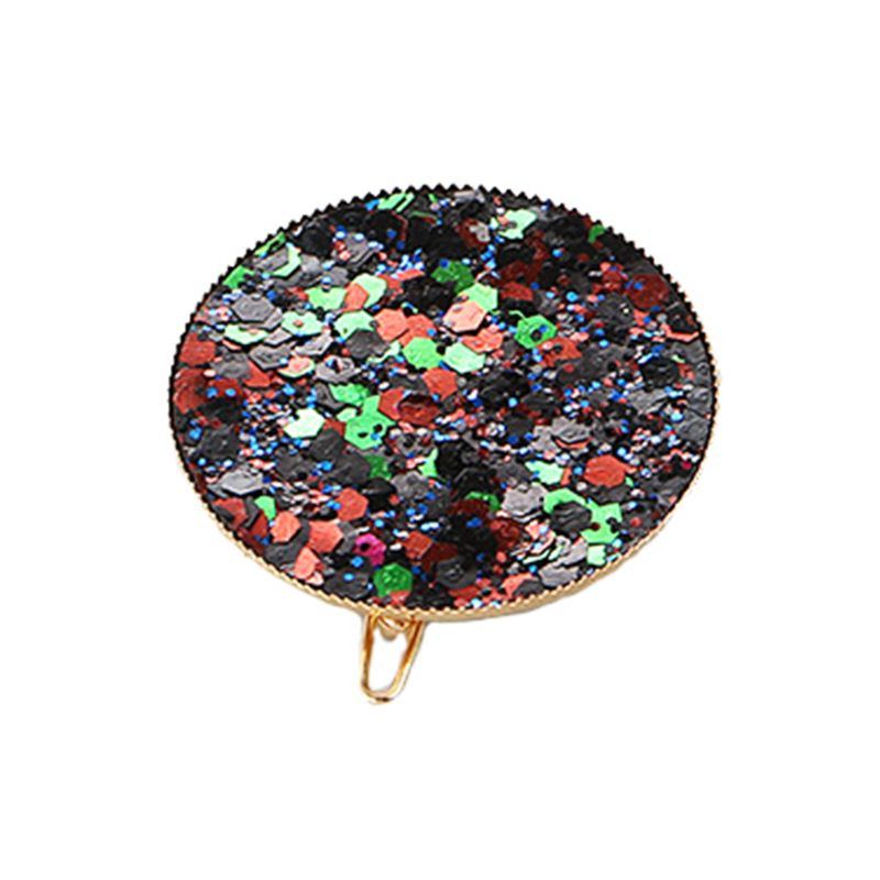 Korean Cute Round Circle Hair Clips Sweet Girls Rainbow Colorful Glitter Sequins Hairpins Vintage Fashion Streetwear Barrettes in Women 39 s Hair Accessories from Apparel Accessories