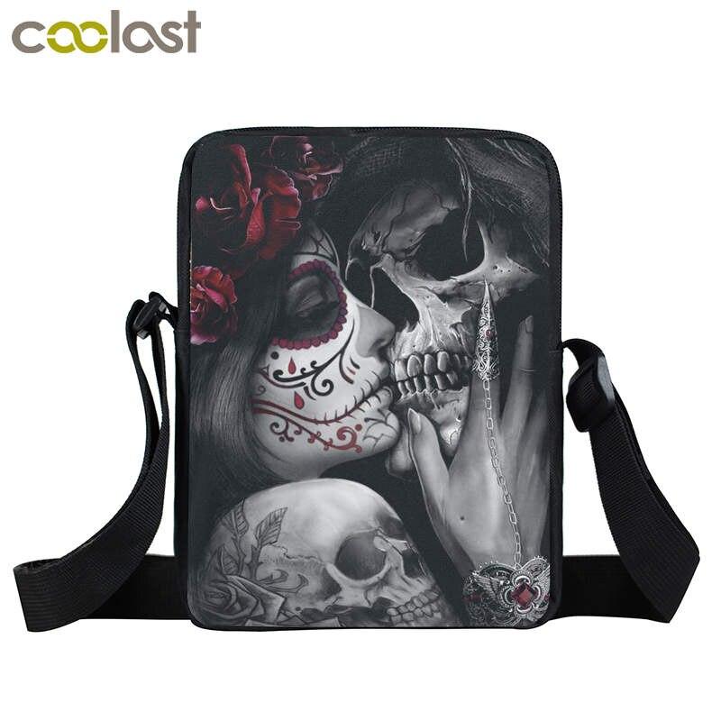 Dark Gothic Girl Mini Skull Crossbody Bags For Men Punk Women Kids Rock Beach Bags Boys Girls Shoulder Bag Portable Hip Hop Bags