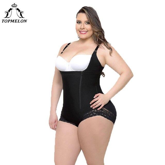 829b9f69627c2 TOPMELON Women Sexy Body Shaper Butt Lifter Underwear Slimming Bodysuit  Plus Big Size High Compression Push