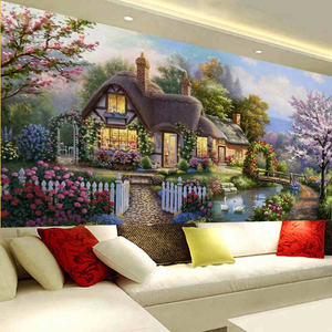 Image 5 - QIANZEHUI peinture paysage, couture bricolage même, point de croix, cabane de jardin rêve, point de croix, ensembles pour kit de broderie