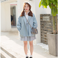 New Preppy Style Vintage Women Trench Coat Loose 16 Coats White Pink Blue 9537