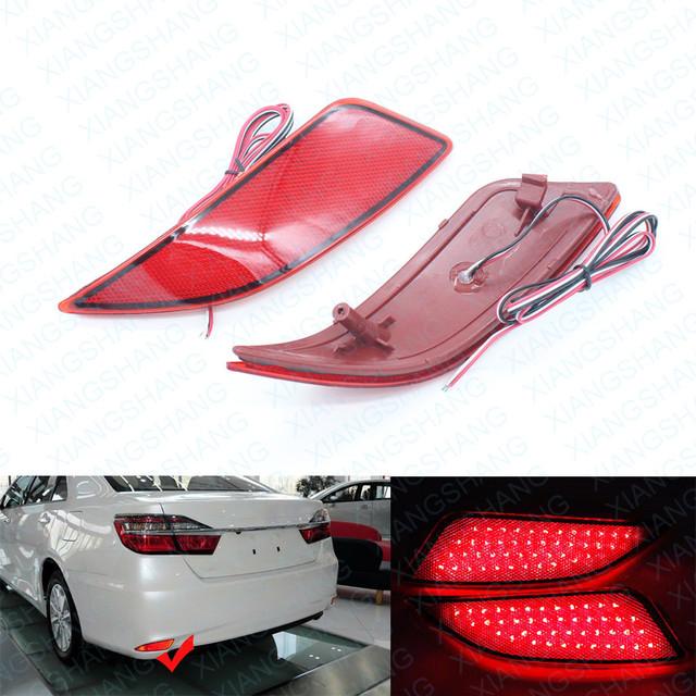 2x Lente Vermelha LEVOU Choques Refletor Traseiro Luz da Cauda do Freio de Estacionamento Lâmpada de advertência Luzes de nevoeiro apto para Toyota Camry 2014 2015 2016