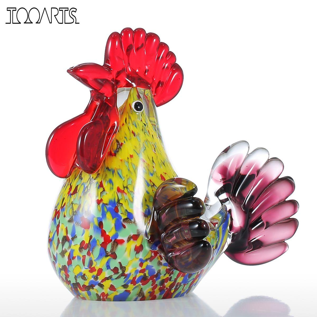 Tooarts Sculpture Multicolor Rooster Glass Sculpture Animal Ornament Favor Gift Glass Craft Decoration For Home Office