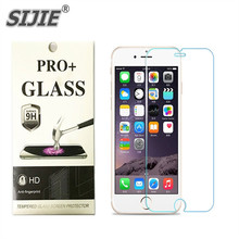SIJIE Tempered Glass For IPHONE 5 6 6S 7 Plus 4 4S with Retail Package Screen Protector for i5 i6 i7 i4 discount Cover free gift
