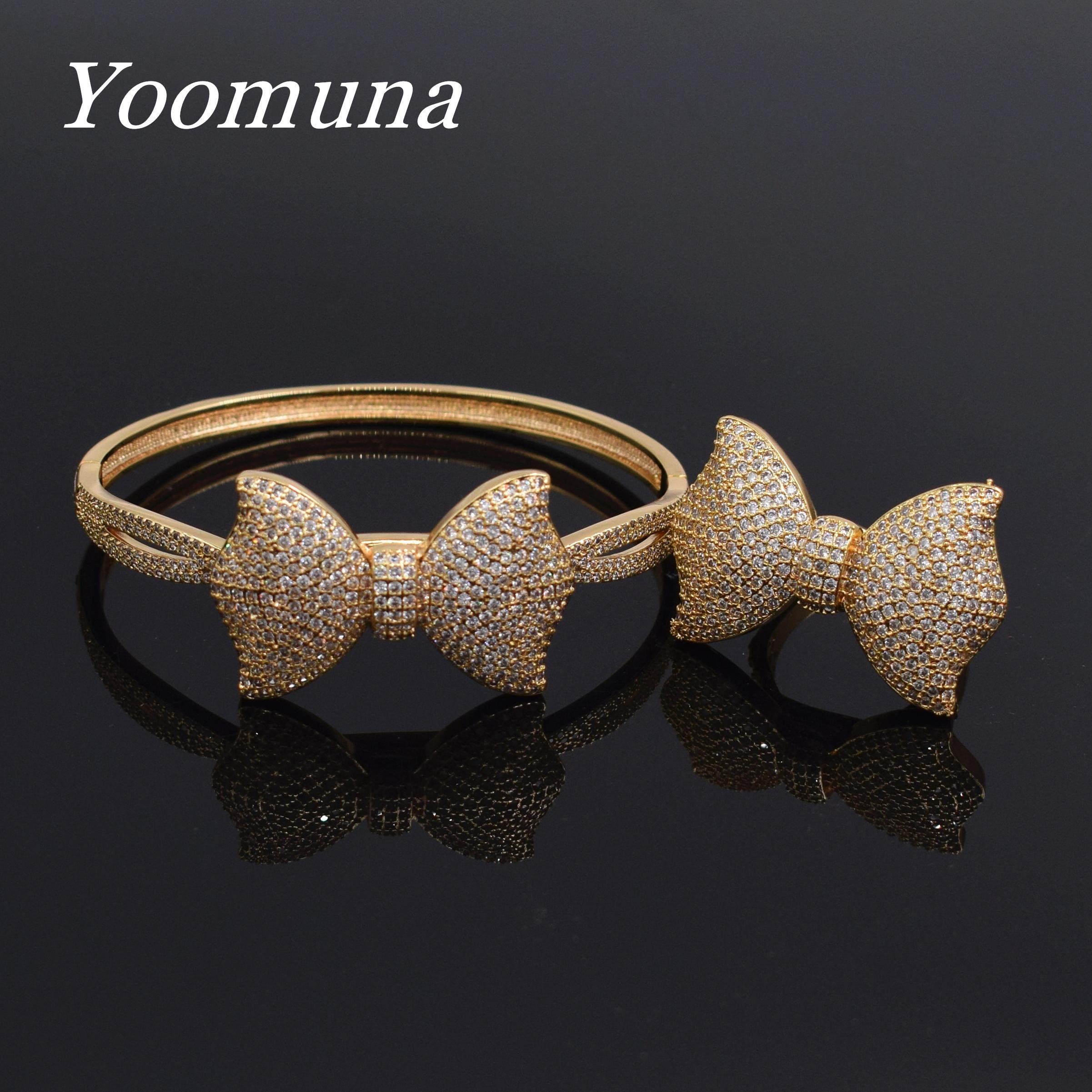 2019 Bracelets de mode de luxe et Bracelets arc ajusté AAA zircon cubique large Bracelets bague ensemble de bijoux pour femmes S1