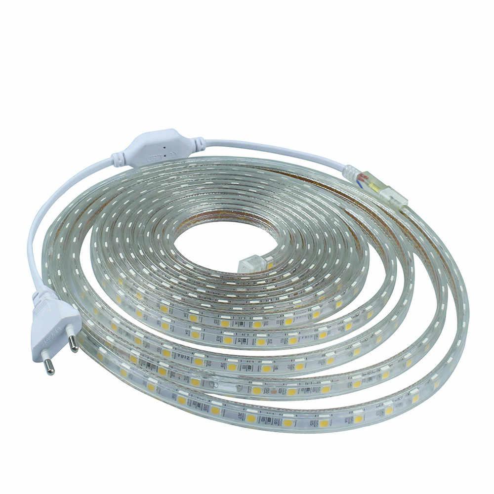 1 M/2 M/3m/5 M/6 M/8 м/10 м/15 м/20 м SMD 5050 AC220V Светодиодные ленты гибкий свет 60 Светодиодный s/M Водонепроницаемый Светодиодная лента свет С Мощность штепсельной вилки