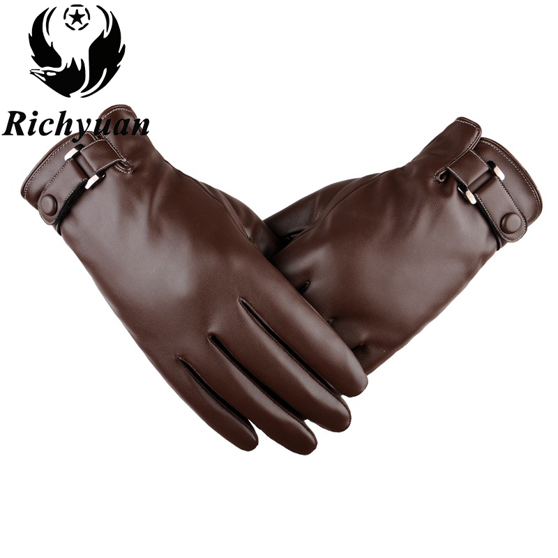2017 Leather Gloves Genuine Leather Black Brown Color Leather Gloves Men Leather Winter Gloves Warm Brand Mittens