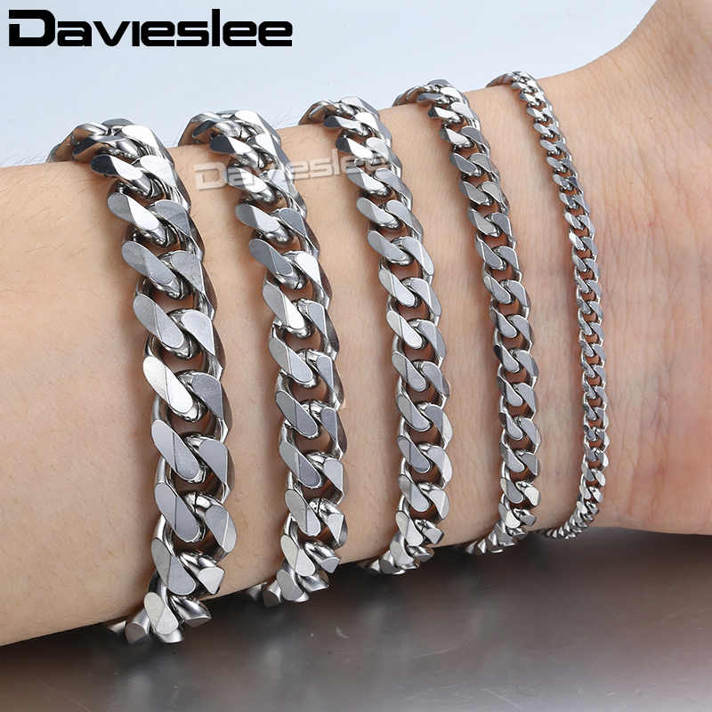 Womens Mens Bracelet Stainless Steel Curb Cuban Silver Black Gold Bracelet for Men Davieslee Wholesale Fashion Jewelry LKBM03