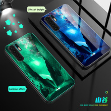 Luminous Glass Case For Huawei P30 Pro mate 20 luxury Tempered Phone huawei MATE Lite back cover Coque