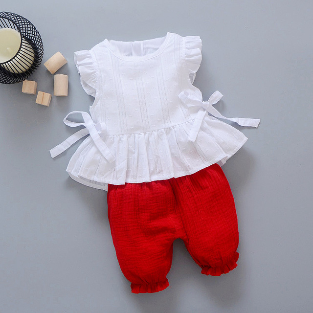 2019 New Summer Baby Girls Clothing Children Lace T-Shirt Shorts 2pcs/Sets Infant Suit Comfortable Cotton Kids Casual Tracksuits 2