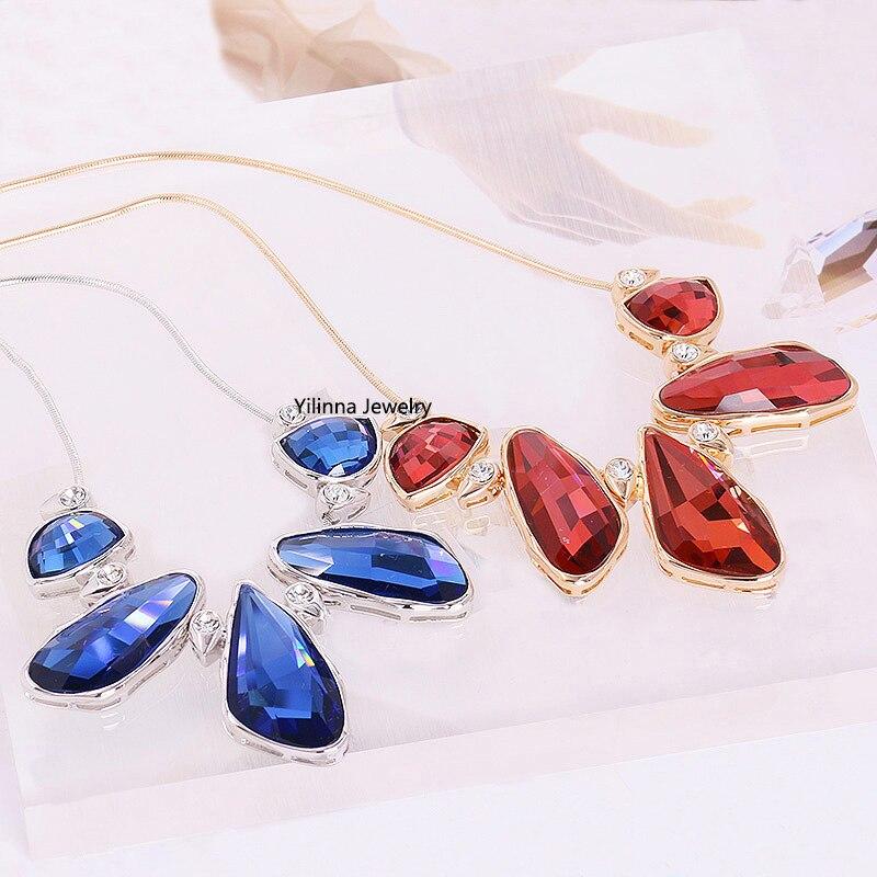 e6ec0806e6c3 N201005 lujo cristalino elegante collar de aleación de zinc Rosa oro color  plata con Austria Cristal de moda joyería de las mujeres