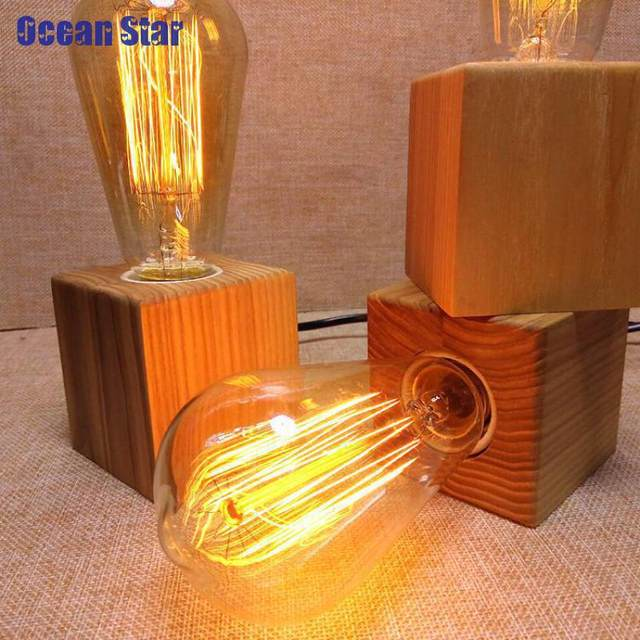 Online shop wooden table lamp vintage desk lamp 40w edison bulb 110v wooden table lamp vintage desk lamp 40w edison bulb 110v 220v bedroom night light table light desk light coffee bar aloadofball Image collections