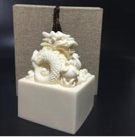 Grand Loong jade seal Office Home ornament Ivory seal ornament can be engraved statues sculpture Home wedding decoration dies