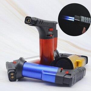 Image 1 - 바베큐 용접 토치 터보 라이터 제트 휴대용 스프레이 건 두 노즐 화재 windproof 시가 파이프 가스 라이터 1300 c 부탄 주방