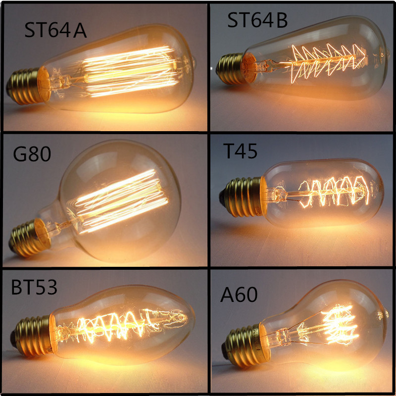 Buy 9 Free 1> Edison Bulb E27 40W 60W 220V 110V ST64 A19 T45 A19 ST48 Filament Incandescent Light Ampoule Vintage Lamp For Decor