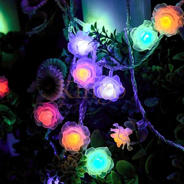 rose flower shape led string lights battery operated lights for holiday christmasnew year
