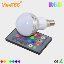 New Year Lighting E14 9W RGB LED Lamp 110V 220V 16 Color Change RGB Bulb Light Lamp With Remote Control For Bar KTV Decoration
