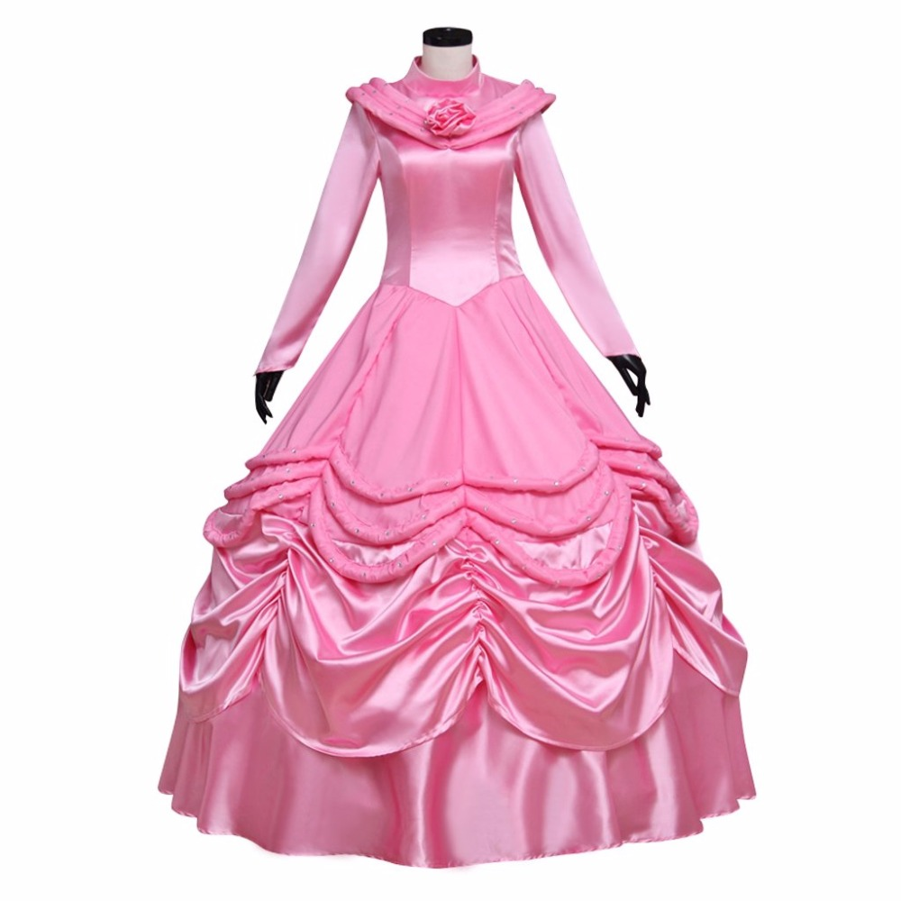 Beauty and the Beast Belle Dress Pink Version Princess Dress Custom Made Costume Cosplay for Halloween Carnival