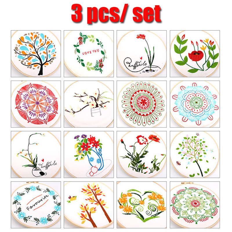 3 psc/set Easy Embroidery Sale With bamboo Hoop for Beginner Needlework  Cross Stitch Kit diy Handmade Sewing Wall Art