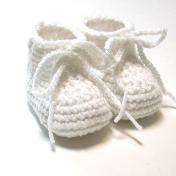 White baby booties. Crochet baby booties Made to order.shoes unisex ...