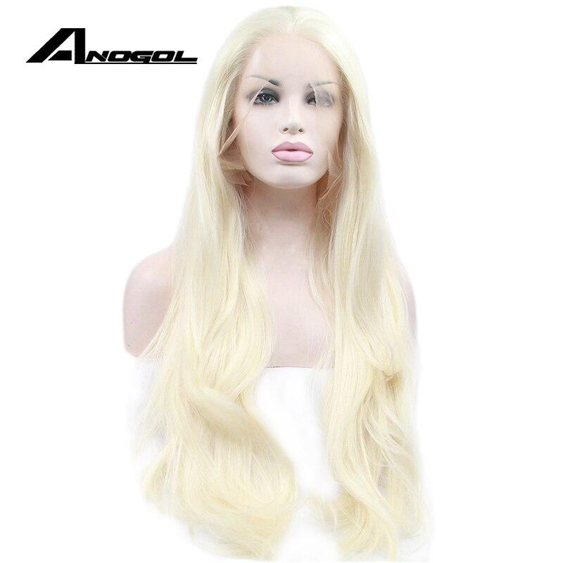 Anogol Sans Colle Haute Température Fiber De Cheveux Naturels Perruques Longue Lâche Vague Platinum Blonde Synthétique Avant de Lacet Perruque Pour Les Femmes