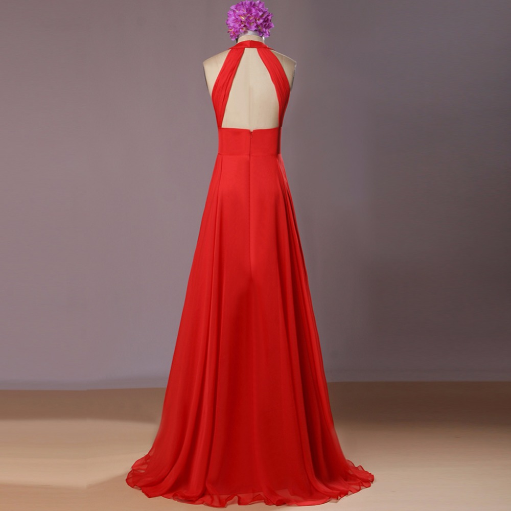 Bright Red A Line Chiffon Long Bridesmaid Dresses Real Photos Sleeveless Summer Open Back Maid of Honor Gowns Wedding Guests 6