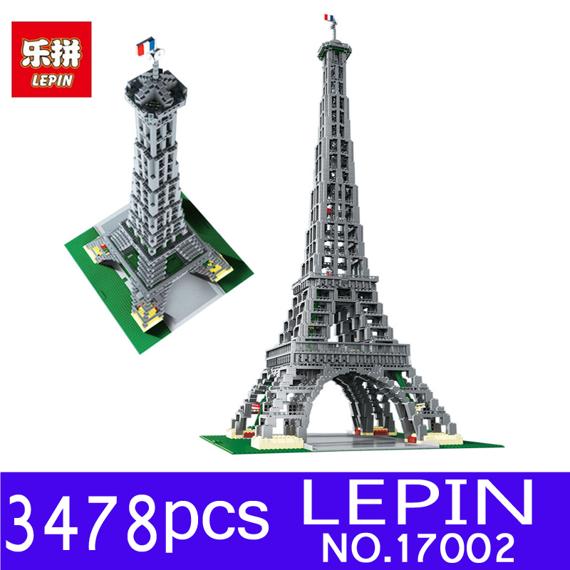 LEPIN 17002 3478Pcs Paris Eiffel Tower Model Kits Building Blocks Bricks Toys Compatible 10181 for Children Gift loz world famous classic architecture assembe mini building blocks educational model toys birthday gift for child eiffel tower
