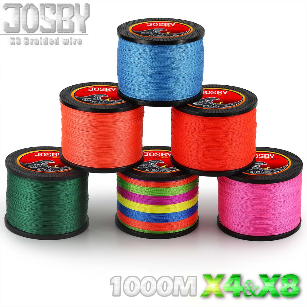 JOSBY 8 Strands 1000M PE Braided Fishing Line tresse peche Saltwater Fishing Weave Superior Extreme Super Strong 12LB to 78LB цена