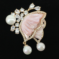 Korean fashion brooch female shell flower pearl micro embossed brooch pin