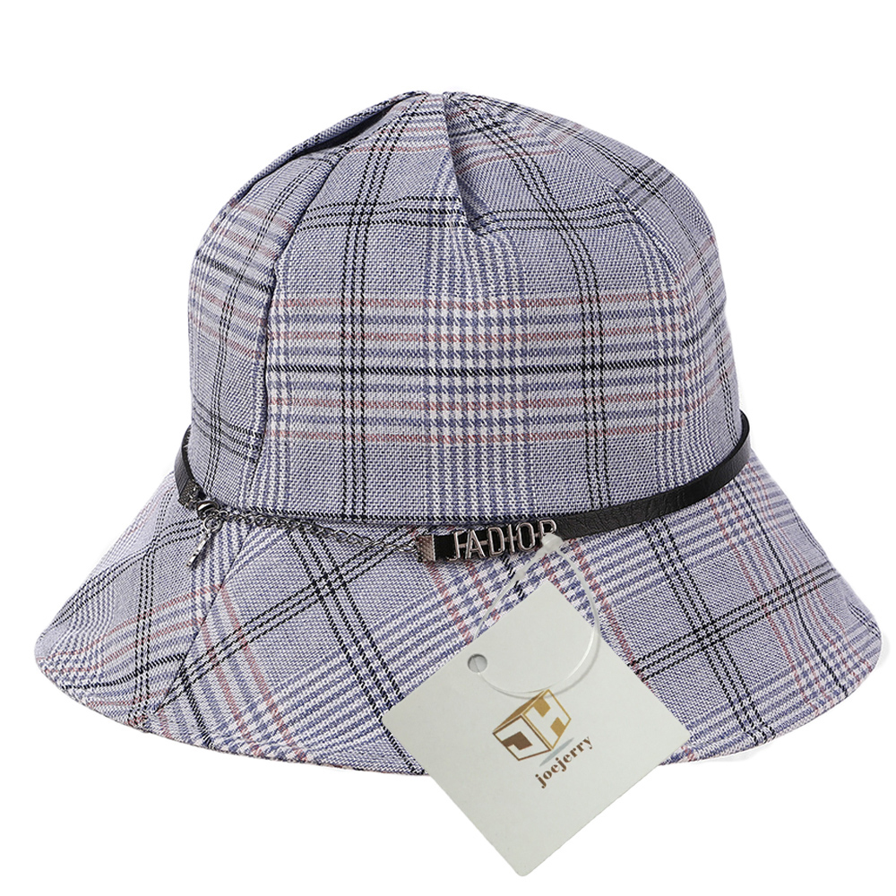 8daf2d04571 Joejerry Japan And Korea Plaid Bucket Hat Girls Fisherman Hat Sun ...