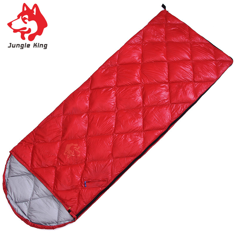 Jungle King Outdoor camping sleeping bag envelope type with awning sleeping bag Lunch in the three seasons sleeping bag down400g lunch at the zoo