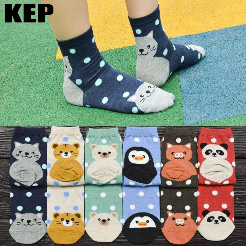 Кеп новый бренд Для женщин носки с мультяшным рисунком Кошка Собака Панда животных носки творческой печати экипажа носки Для женщин для пре...